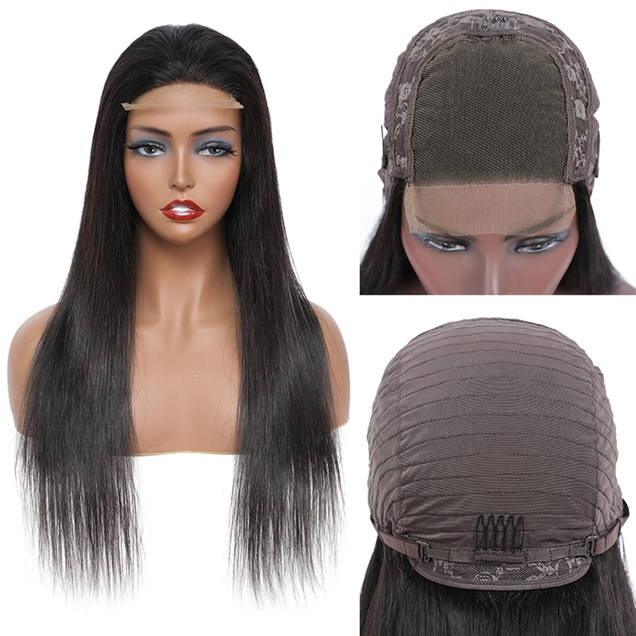 Wholesale Straight Lace Front Wigs for Women Brazilian Cuticle Aligned Remy Human Hair Pre Plucked Wigs Natural Black Color maxglam lace front human hair wigs for black women straight pre plucked with baby hair brazilian remy hair natural color