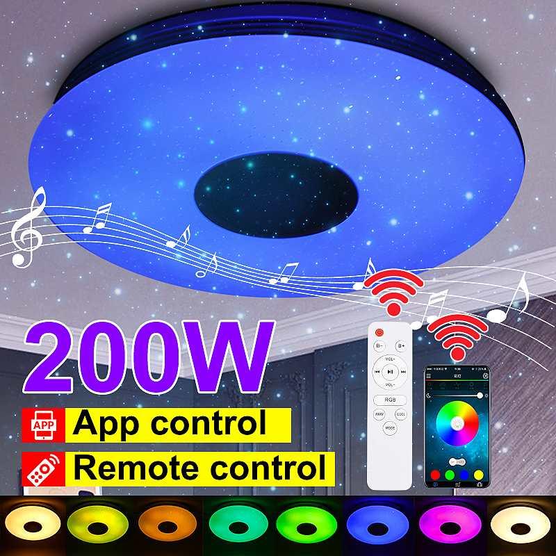 200 واط RGB عكس الضوء موسيقى سقف مصباح بعيد & APP تحكم سقف ضوء التيار المتناوب 85-265 فولت للمنزل سمّاعات بلوتوث تركيبة إضاءة