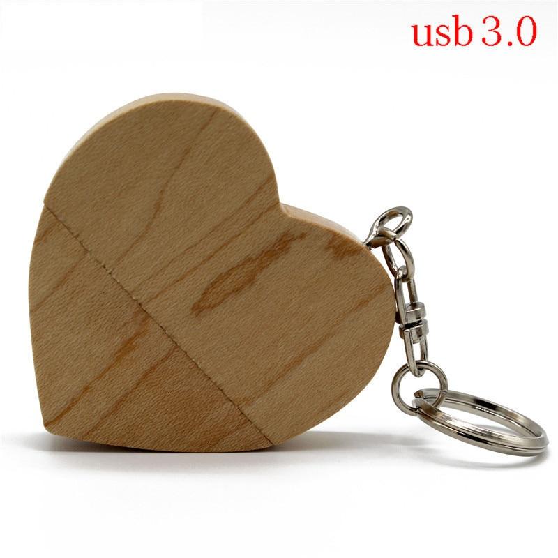 Texto MEmaple madera de nogal corazón + modelo de caja usb3.0 32GB usb flash drive usb3.0 pendrive 4GB 8GB 16GB amor mejor regalo