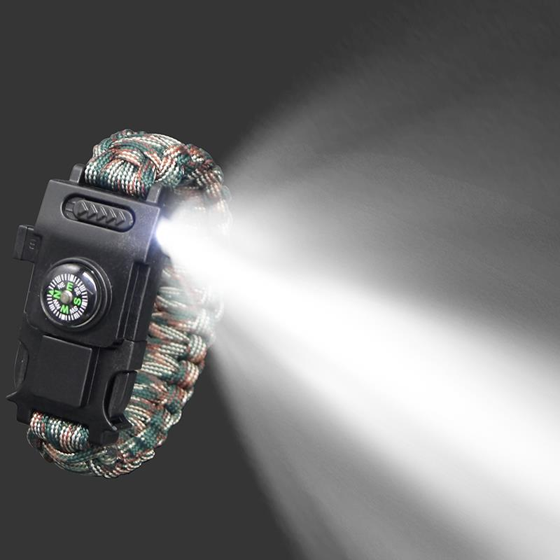 Überleben paracord 4mm armband led multi-funktion armband überleben im freien notfall camping wandern rettungs hand seil