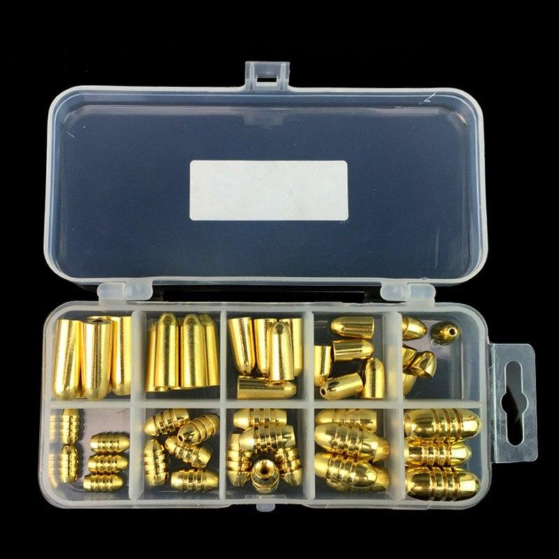 Nuevo 50 piezas 1,8/3,5/5/7/10g peso de la pesca variada forma de bala cobre plomo sinker Kit aparejos Sinkers con caja SD669