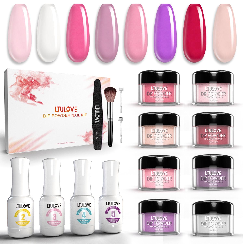 LTULOVE Diip Powder Nail Kit 8 Colors Dippng Nail Powder 4 Pcs 12ml Dip Liquids No UV LED Lamp Needed Dip Manicure Kit
