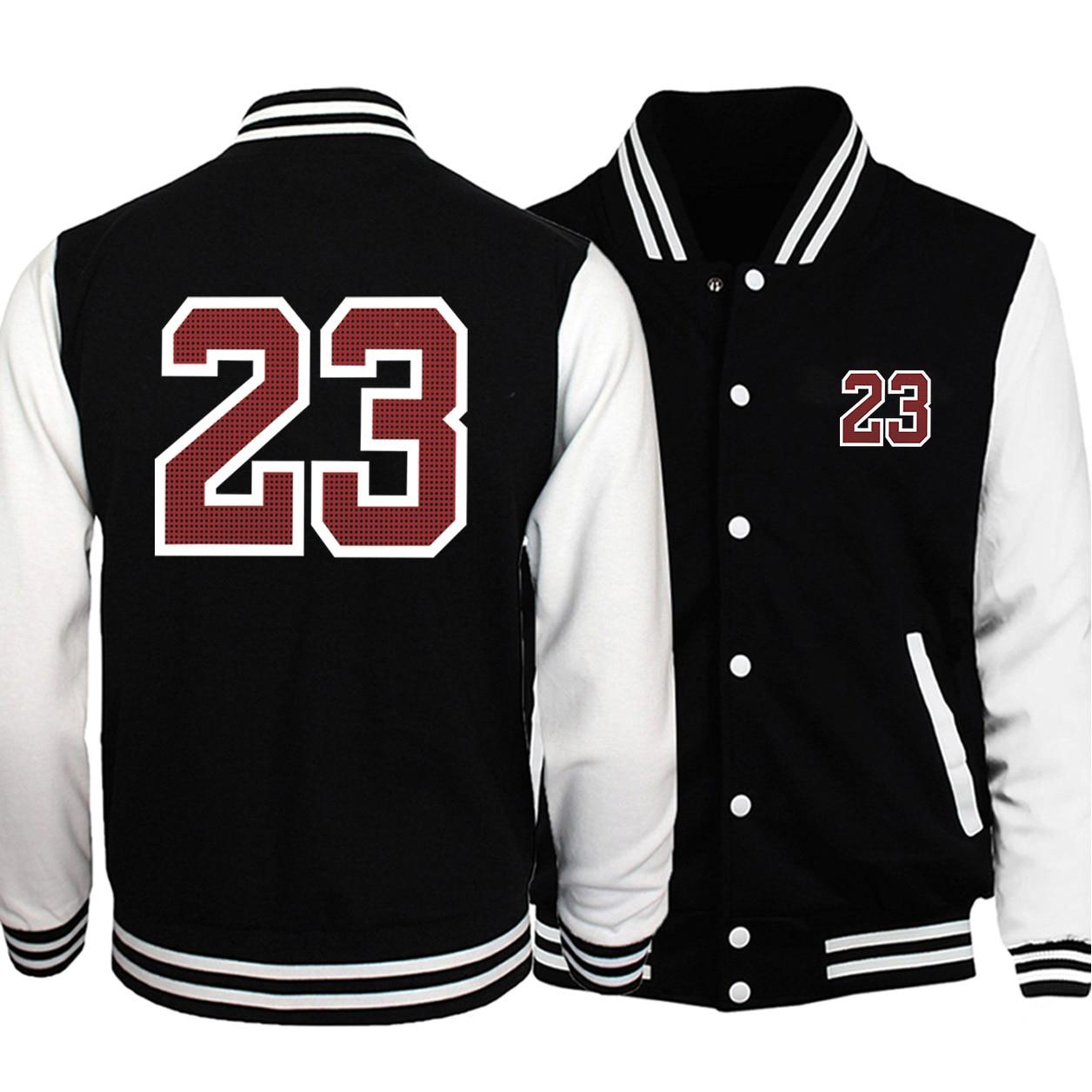 Hot Sale Men Baseball Uniform Coat 2021 Autumn Bomber Jacket Letter 23 Print Streetwear Casual Tracksuit Hip Hot Men Brand Coats