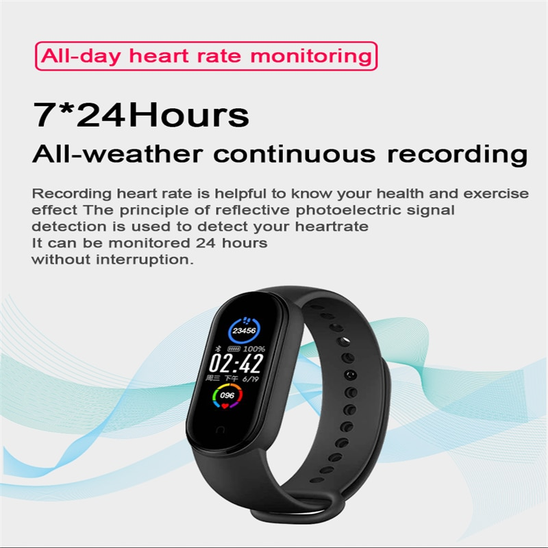 New M5 Smart Bracelet Men Fitness Smart Wristband Women Sports Tracker Smartwatch Play Music Bracelet M5 Band for Adriod IOS