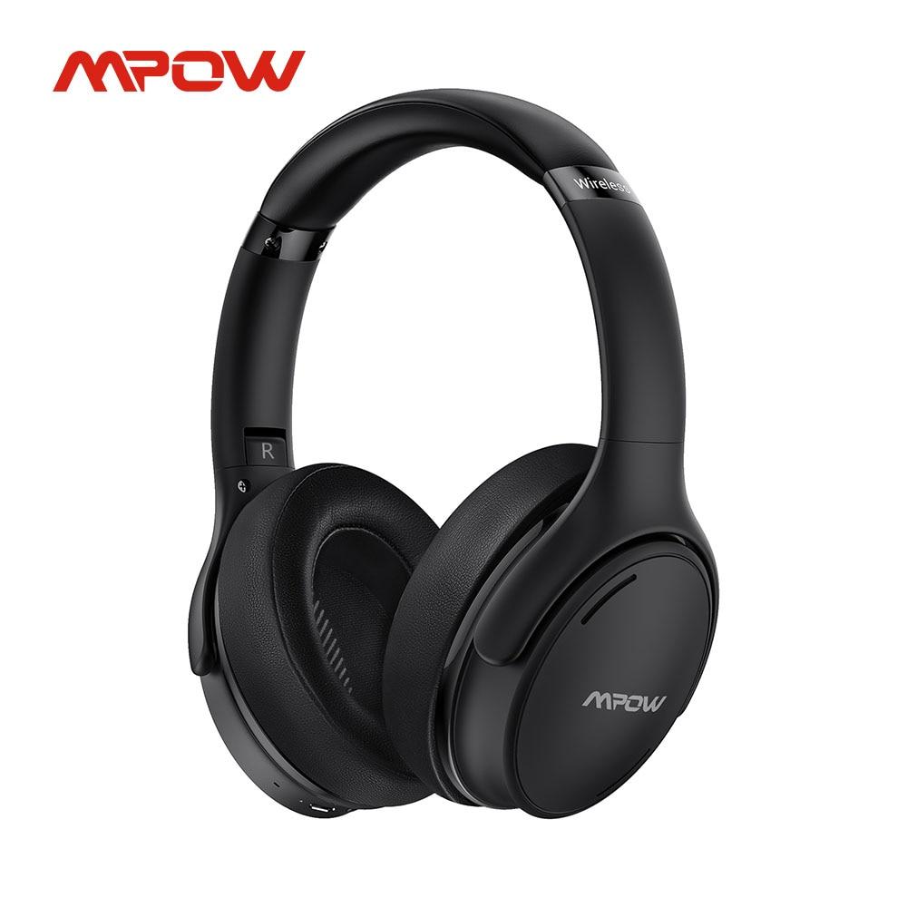 Mpow-سماعة رأس لاسلكية H19 IPO مزودة بتقنية البلوتوث 5.0 وخفيفة الوزن وإلغاء الضوضاء النشط وميكروفون 8.0 CVC وتشغيل لمدة 30 ساعة وشحن سريع
