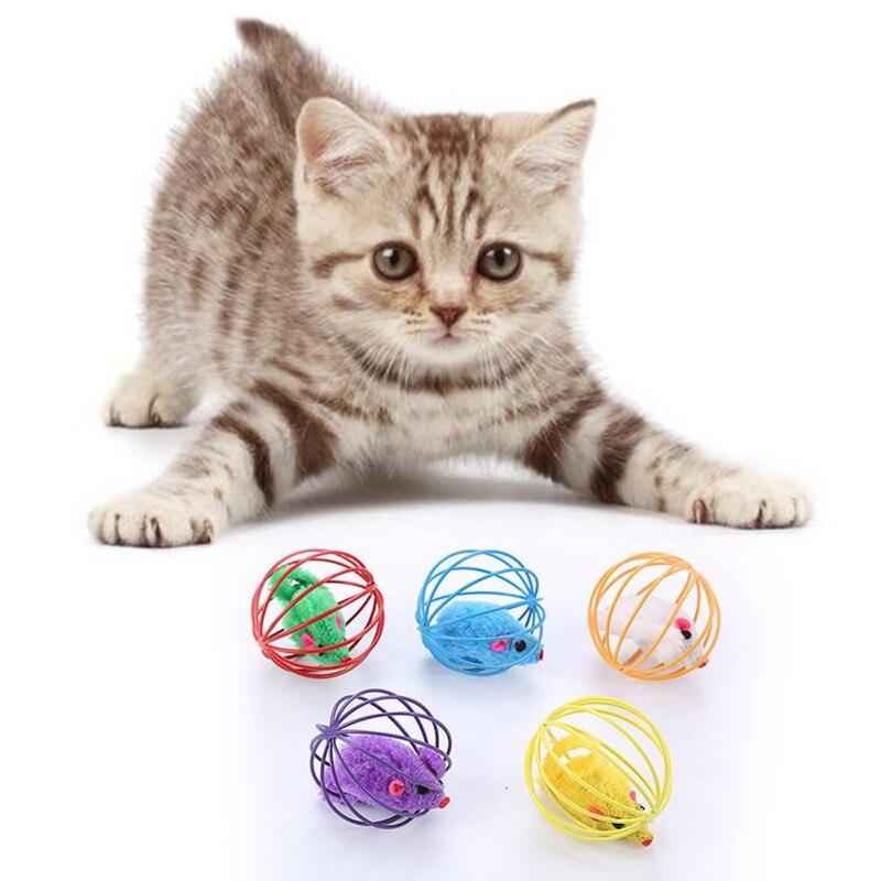 Клетка для кошек Проволочная клетка мыши игрушечная плюшевая мышь игрушка 5