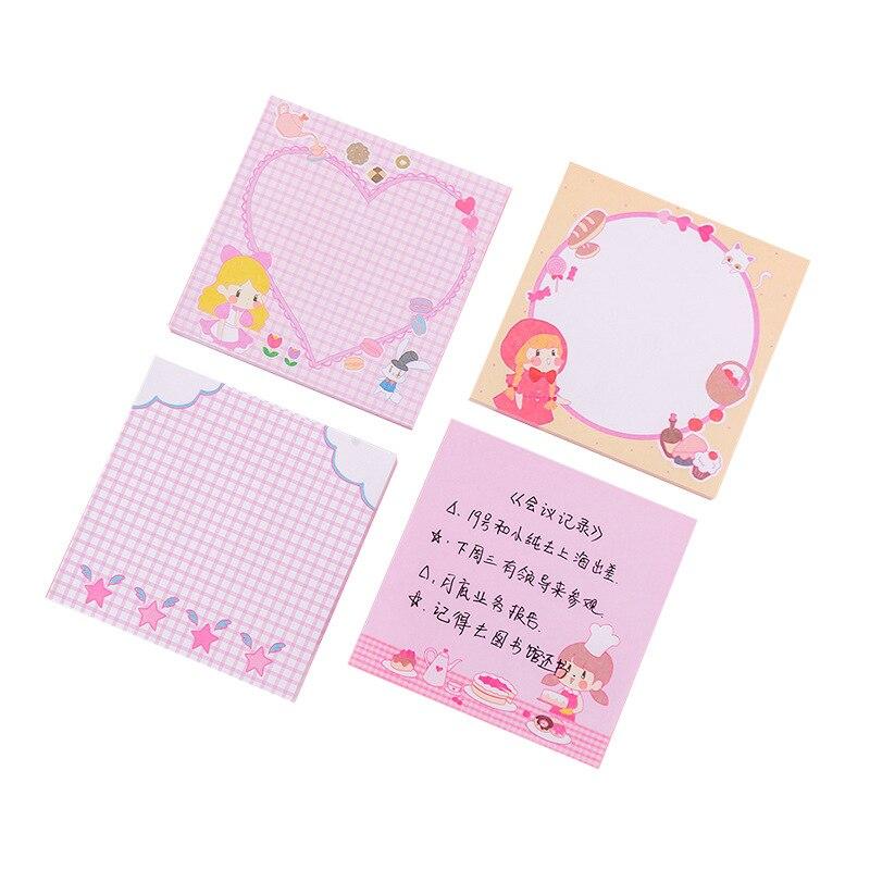 8x8cm Corazón de amor Rosa lindo Bloc de notas papel papelería notas adhesivas cuadrado mensaje para hacer lista planificador registro Kawaii dibujos animados