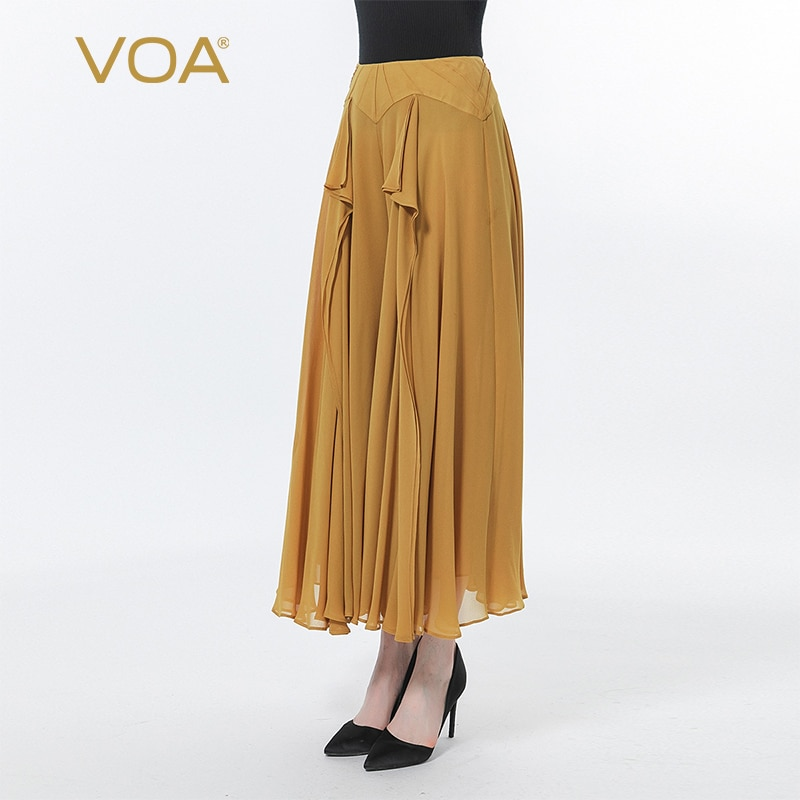 VOA  Georgette Brown Natural Waist Stitching Three-dimensional Loose-leaf Decoration  Double-layer Loose Wide-leg Trousers KE519