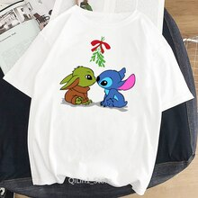 Mandalorian Baby Yoda & Lilo Stitch love cartoon print t shirt women clothes 2020 vogue funny tshirt femme harajuku kawaii shirt