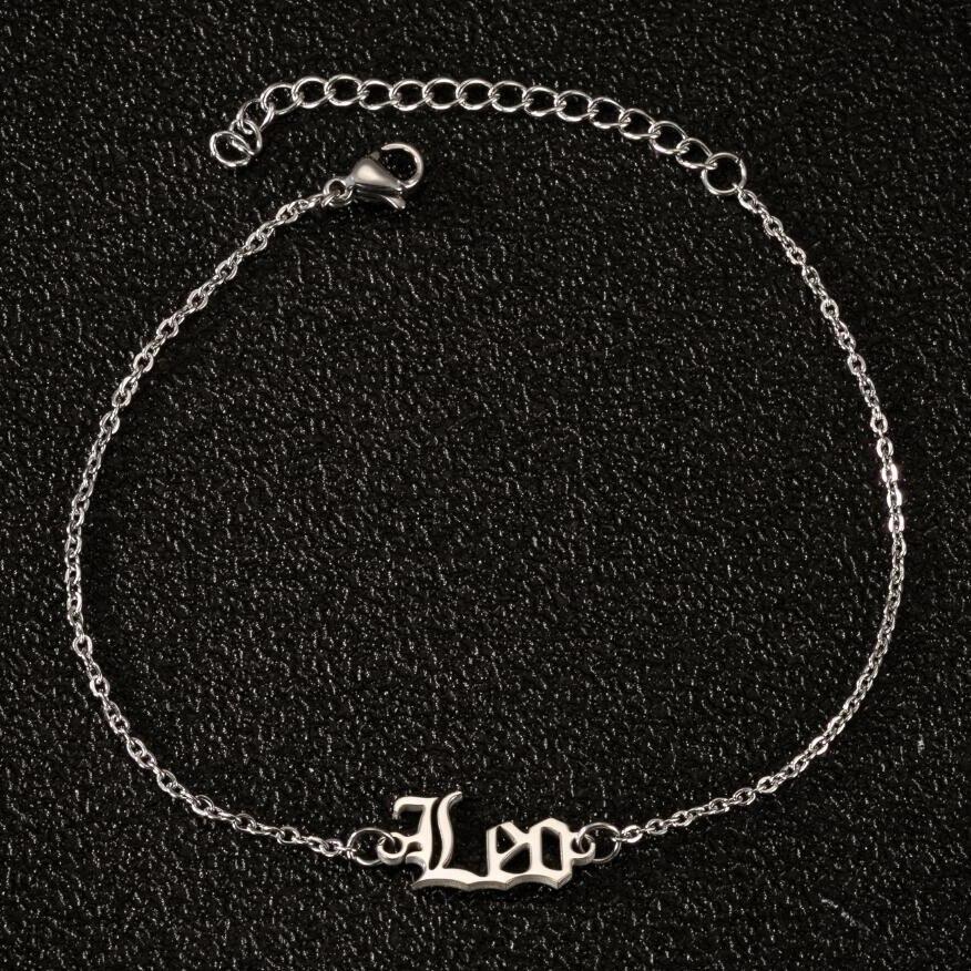 Signo do zodíaco tornozeleiras para mulheres cor de ouro tornozelo pulseira de aço inoxidável perna corrente horóscopo leo aries tornozeleira pé jóias