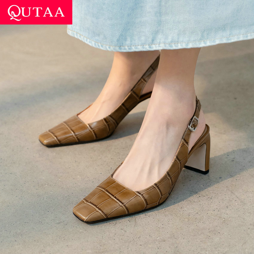 QUTAA 2021 Back Strap Buckle Fashion Square High Heel Female Sandals Summer Genuine Leather Square Toe Women Shoes Size 34-39