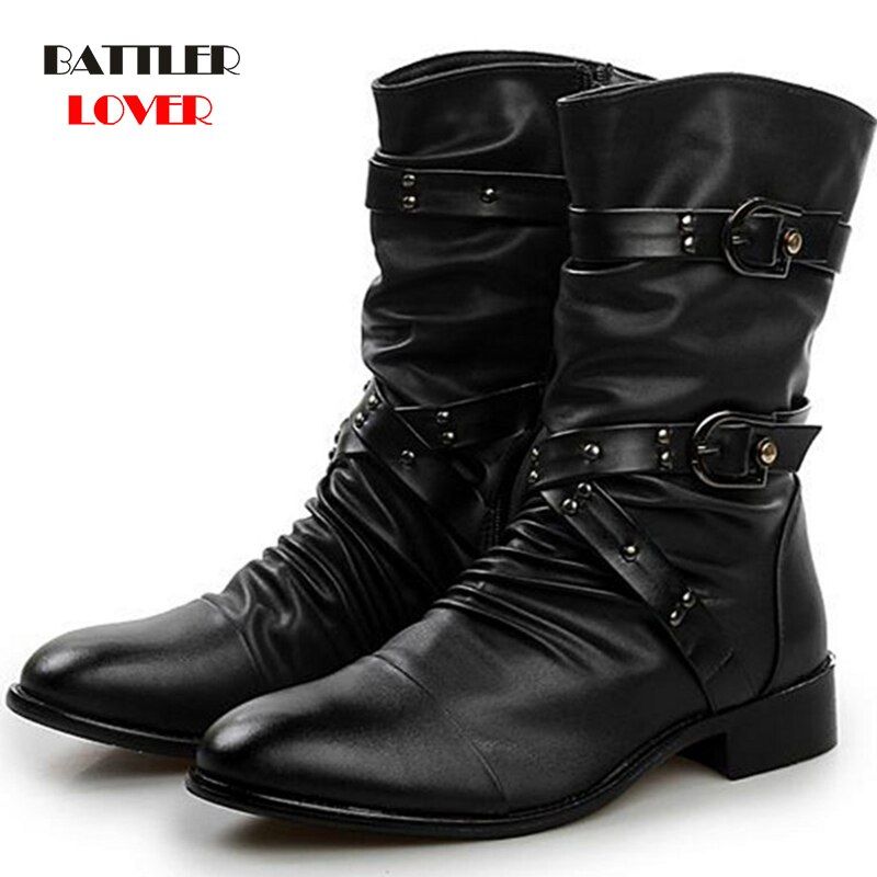 Winter Military Leder Stiefel für Männer Kampf Bot Infanterie Taktische Stiefel Punkt toe Verband Botas Männer der Motor Punk Schuhe ayakkabi