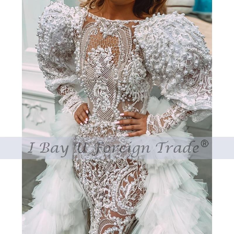 Luxury Mermaid Wedding Dress 2021 Puffy Shoulder Long Sleeves Pearl Beaded Lace Appliques Beaded Bridal Gowns Robe De Mariée
