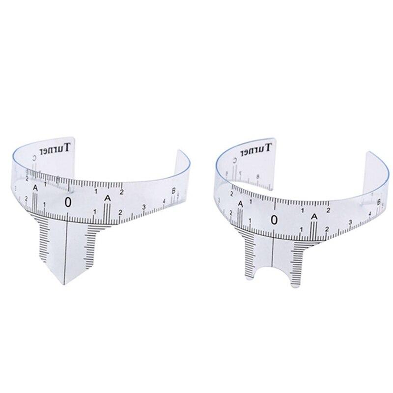 Quente 2 pçs reutilizável semi permanente sobrancelha réguas ferramenta medidas microblading permanente compõem sobrancelha tatuagem posição régua