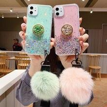 Bling étui de téléphone pour xiaomi Redmi Note 7 6 8 Pro Mi8 Mi9 A2 Lite 6X9 T luxe diamant support mode boule de cheveux lanière housse