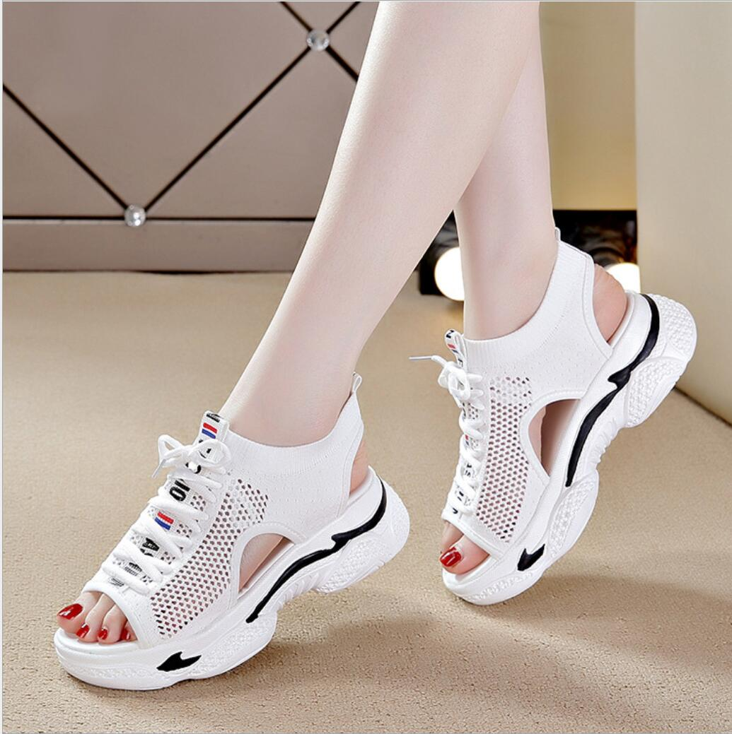 Summer Women Sneakers 2021 New Sports Sandals Fashion Mesh Casual Shoes Women's Thick-Soled Soft-Soled Platform Sandals