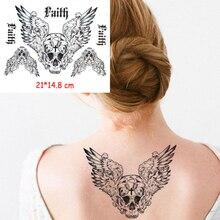 Waterproof Temporary Body Art Arm Shoulder Chest Skull Wing Tattoo Sticker Women/Men Hot Sale 14.8*21 Cm