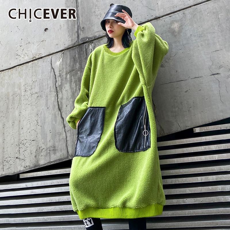 Chiever Patchwork Hit Color Mujer sudadera O cuello linterna manga Patchwork PU bolsillo Oversize Pullover femenino 2020 moda