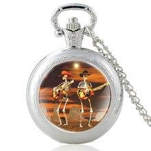Squelette groupe de guitare Vintage Quartz montre de poche hommes femmes classique verre Cabochon pendentif collier heures Fob horloge cadeaux