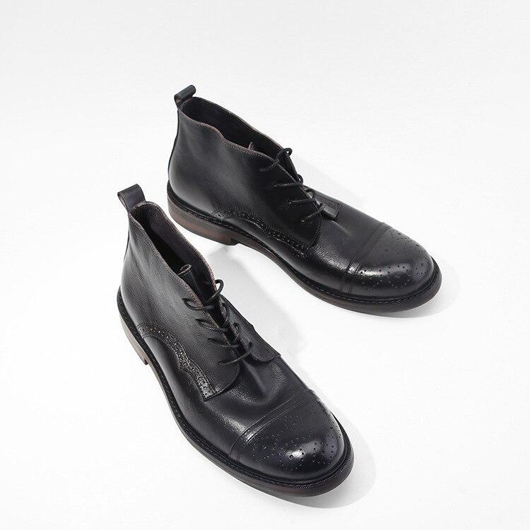 Véritable chaussures en cuir hommes bottes automne en plein air hiver bottines à lacets chaussures hommes de haute qualité chaussures à la main hommes chaussures