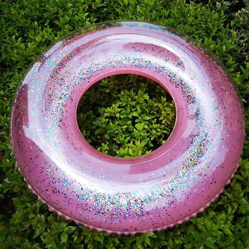 Anel de natação redondo inflável transparente da jangada do brilho do tubo da nadada da bóia da vida para a piscina do verão 55cm & t8
