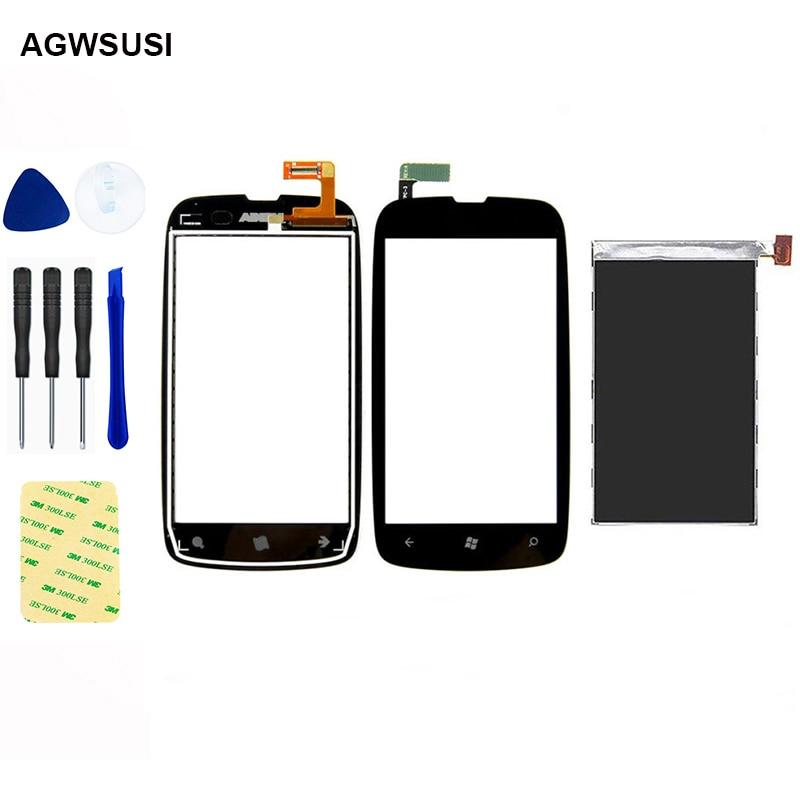 Para Nokia Lumia 610 Digitalizador de pantalla táctil Sensor de vidrio + reemplazo de Monitor de Panel de pantalla LCD