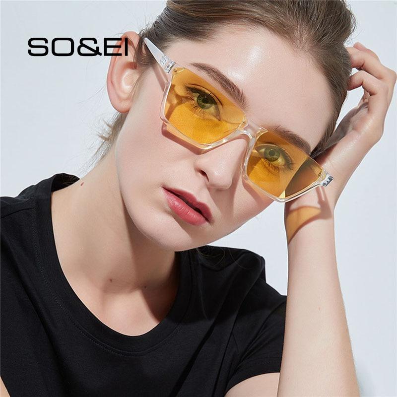 SO&EI Fashion Semi-Rimless Square Women Sunglasses Brand Designer Blue Tinted Clear Lens Eyewear Men
