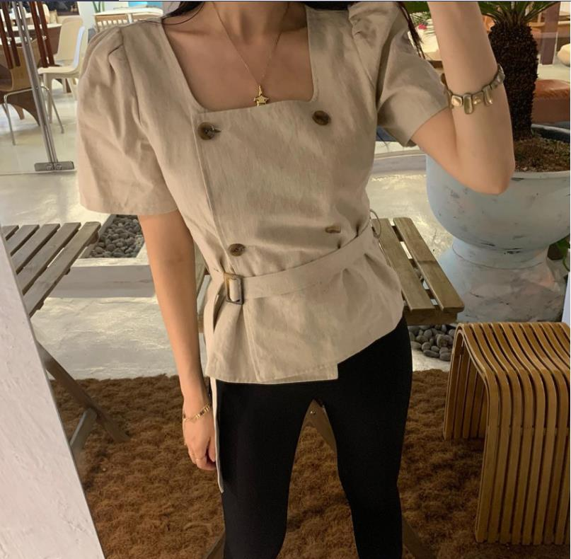 Korean Chic French Style Retro Elegant Square Collar Double Breasted Waist Slimming All-Matching Wes