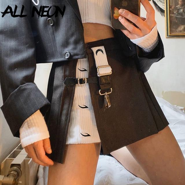 Y2K women's mini skirt, open print, high waist, black, punk style,  woman skirts  women clothes 6