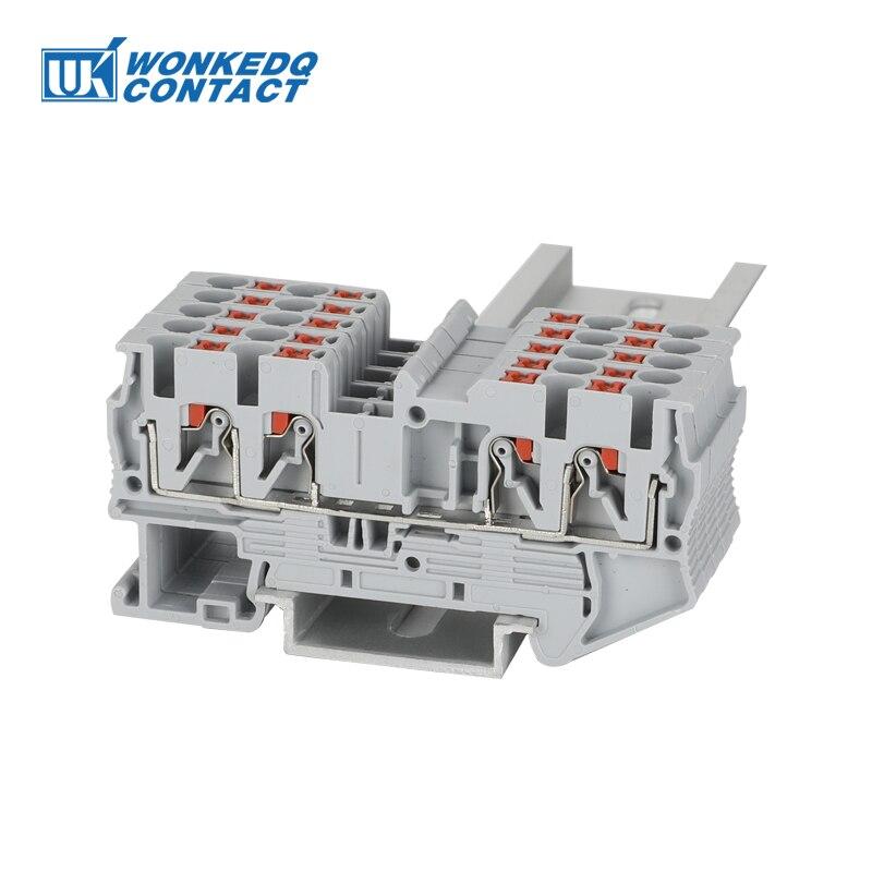 10 pces pt25 qu push in mola 4 condutor tira plug fio conector eletrico pt 25 quattro