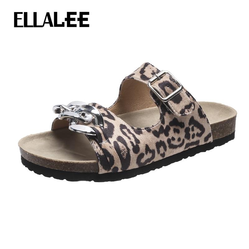 ELLALEE Slippers for Women Leopard Punk Style Summer Buckle Female Shoes Plus Size 42 Fashion Shallow Beach Women's Flats