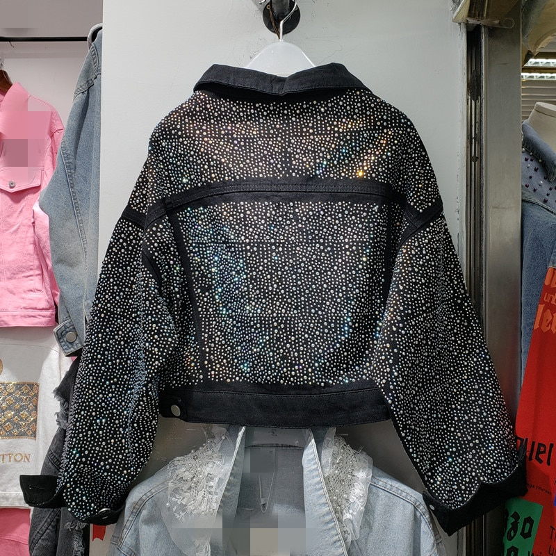 2019 otoño nuevo trabajo pesado caliente Drill chaqueta de mezclilla Woomens Chaquetas cortas mujer negro de manga larga Leisuer Jeans abrigo Outwear femme