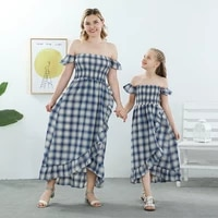 family matching outfits clothes mother daughter summer fashion plaid dress birthday party clothing parent child outfits