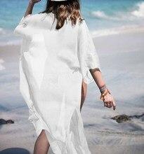 Womens Kimono Beach Cardigan Swimsuit Bikini Cover Up Wrap Beachwear Holiday Bathing Suit Long Dress Summer Sundress White Black