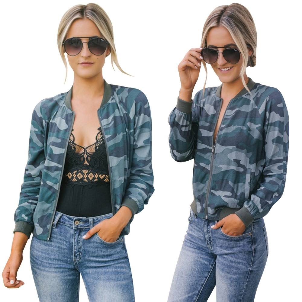 Chaqueta en oferta, abrigo de mujer, chaqueta de calle de otoño invierno de camuflaje para mujer y Chica, chaqueta de béisbol estilo Bomber de camuflaje informal D30