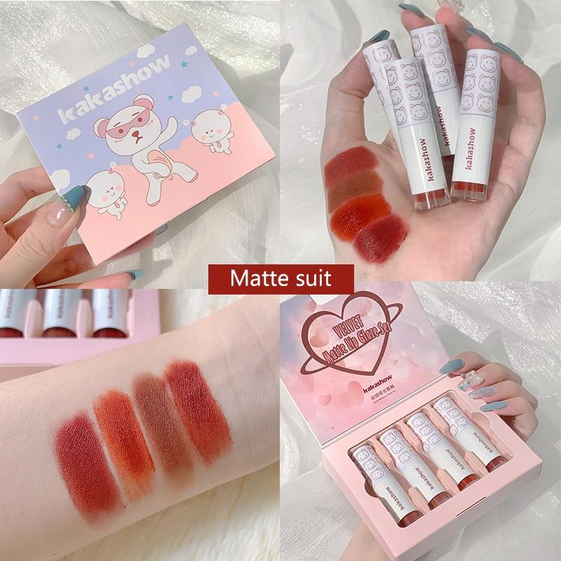 4pcs/set Lip Glaze Set Velvet Matte Liquid Lipstick Lip Balm Sexy Lip Tint Cosmetic Women Makeup Non