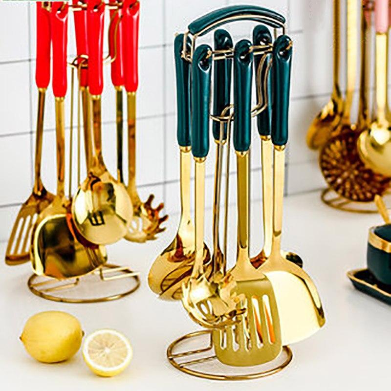 Ceramic Anti-hot Handle Kitchenware Luxury Food Shovel Set Of 7 Pieces Ins Cooking Scoop Colander Golden Series noodle strainer