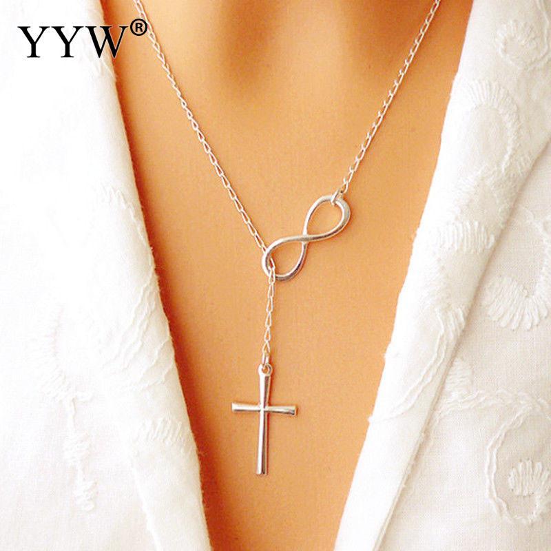 2020 collar con colgante de cadena largas y cruzadas Infinity elegante encantador Collar de plata para mujeres regalos de amistad para amantes de bodas para mujeres