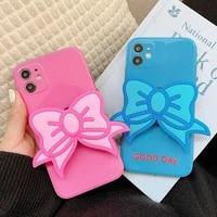 signalshin for iphone se xr xs 11 12 mini pro max 7 8plus folding bowknot stand holder phone case fashion shining funda cover