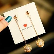 BICUX 2019 Gold Earrings for Women Statement Earrings Geometric Metal Ball Imitation Pearl Drop Dangle Earrings Fashion Jewelry