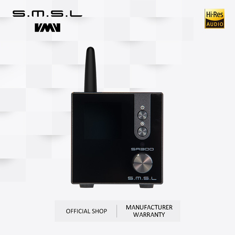 AMPLIFICADOR DE POTENCIA HiFi SMSL SA300 amplificador de sonido Digital Bluetooth 5,0 32bit/384kHz Subwoofer con Control remoto azul y rojo y negro