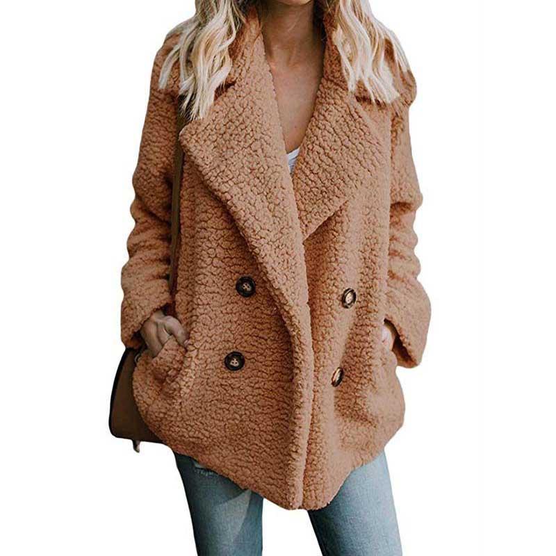¡Otoño-Invierno 2020! Abrigo de piel sintética para mujer, chaqueta de gran tamaño para mujer, abrigo grueso y cálido de felpa