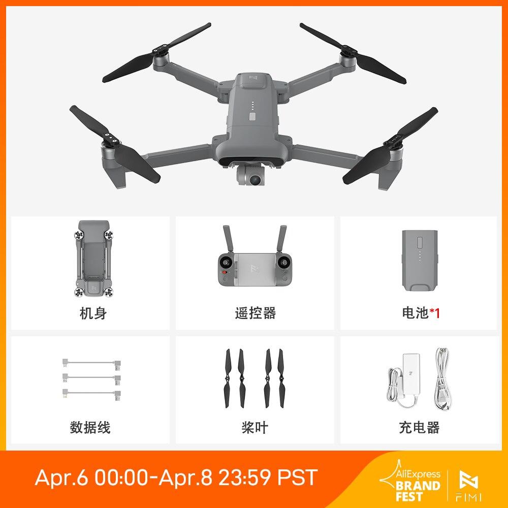 FIMI X8SE 2020 Grey Version Camera drone EU-plug 8KM FPV 3-axis Gimbal 4K Camera HDR Video GPS 35mins Flight Time RC Quadcopter