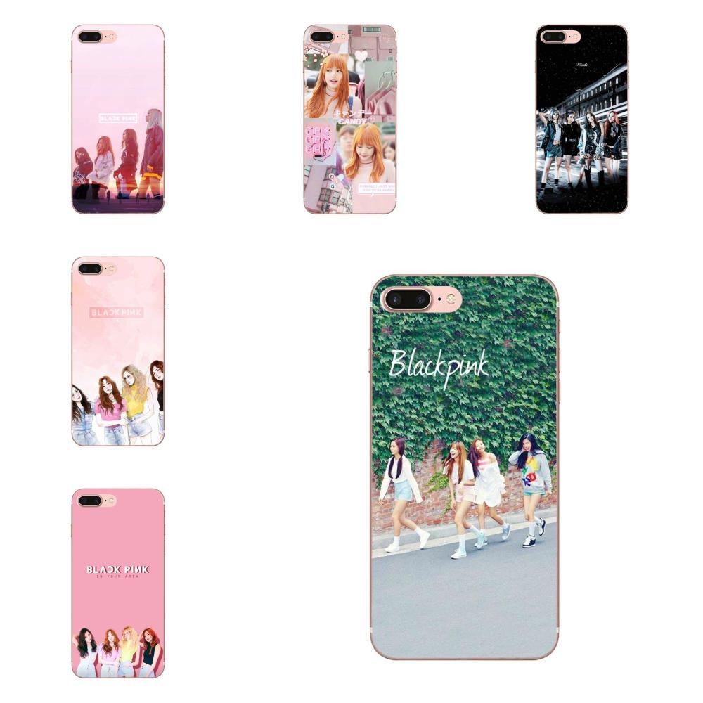 La caja del teléfono del negro Rosa K-pop Blackpink Kpop Collage para Apple iPhone 4 4S 5 5C 5S SE SE2 6 6S 7 7 8 11 Plus Pro X XS X Max XR