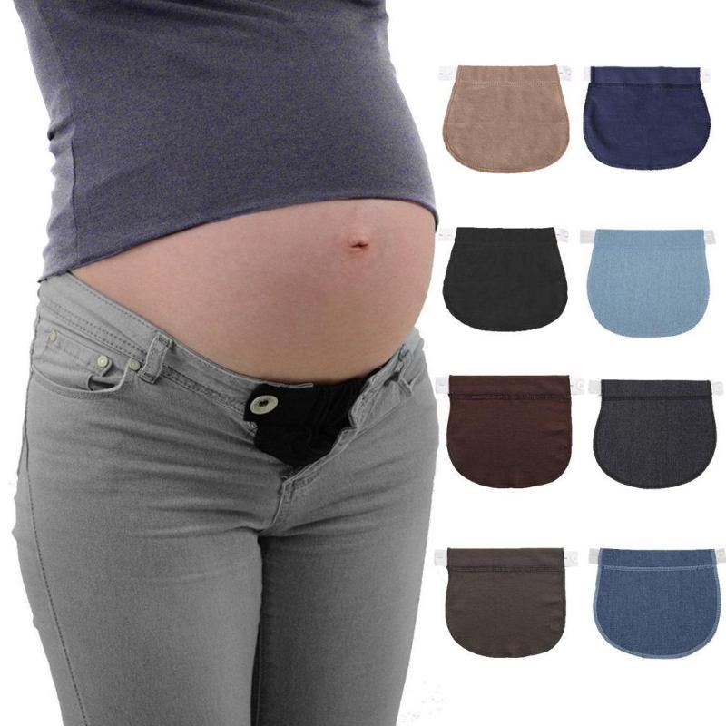 Premamá embarazo cinturón ajustable pantalones elásticos alargar botón extendido para mujeres embarazadas