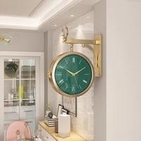 luxury deer nordic design wall clock double sided metal wall art clocks wall home decor living room relojes wall decor bi50wc
