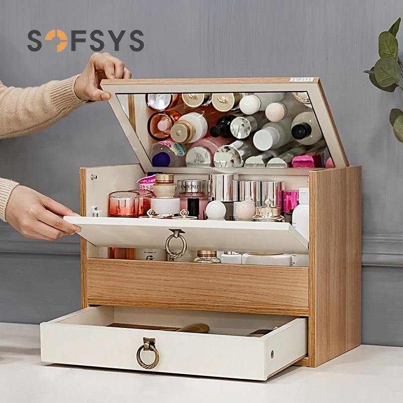 سعة كبيرة صندوق تخزين مستحضرات التجميل درج مجوهرات ماكياج المنظم رف خشبي العضوي Maquillage نوم المنظم EF60CS