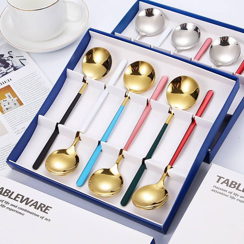 Dinnerware Set 304 Stainless Steel 6 Round Spoon Tableware Many Colors Japanese Korean Tablespoons Dishwasher Wash Safe Kitchen