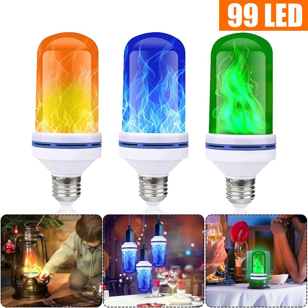 96/99/108LED E27 lámparas de llama 15W 85-265V 4 modos ampolla LED efecto llama bombilla parpadeante emulación fuego Luz