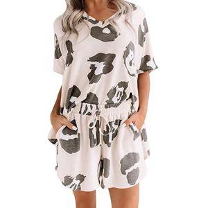 Women Summer Pajamas Set Short Sleeve Tie-Dye Leopard Sleepwear Loose Loungewear X3UE